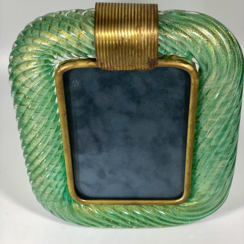 Green Murano Venini twisted glass rope and brass Mid Century frame