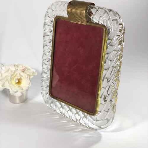 Murano Venini twisted glass and brass picture frame