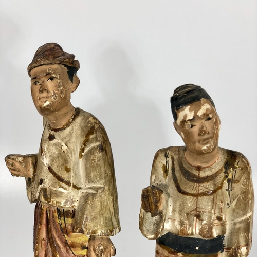 19th Century wooden spice trader figures
