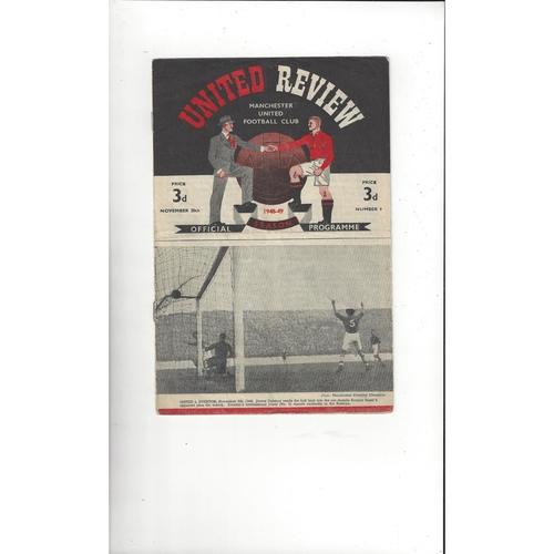 1948/49 Manchester United v Birmingham City Football Programme
