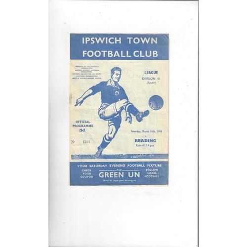 1955/56 Ipswich Town v Reading Football Programme