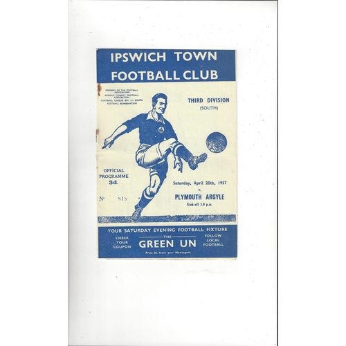 1956/57 Ipswich Town v Plymouth Argyle Football Programme