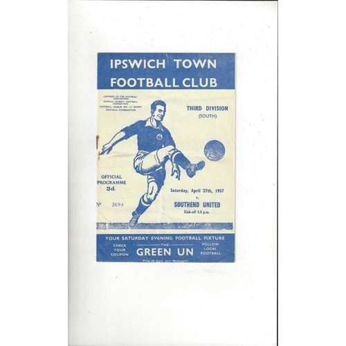 1956/57 Ipswich Town v Southend United Football Programme