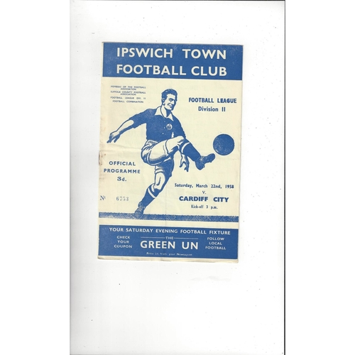 1957/58 Ipswich Town v Cardiff City Football Programme