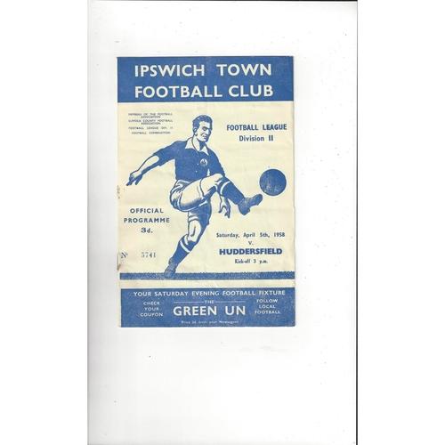 1957/58 Ipswich Town v Huddersfield Town Football Programme