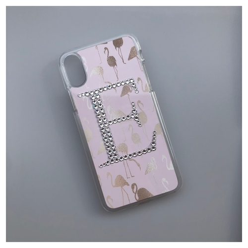 Flamingo Design Phone Case with Crystal Initial