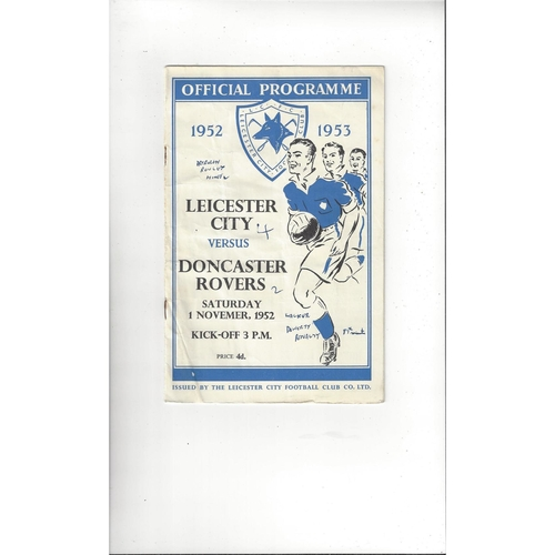 1952/53 Leicester City v Doncaster Rovers Football Programme