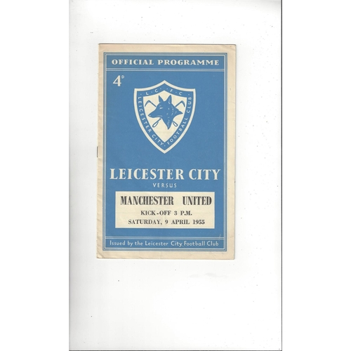 1954/55 Leicester City v Manchester United Football Programme