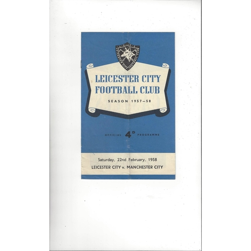 1957/58 Leicester City v Manchester City Football Programme