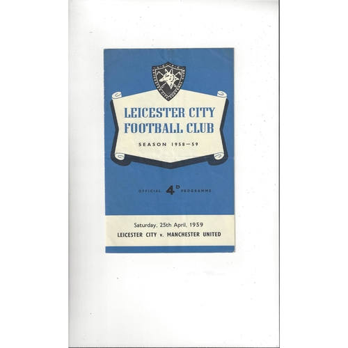 1958/59 Leicester City v Manchester United Football Programme