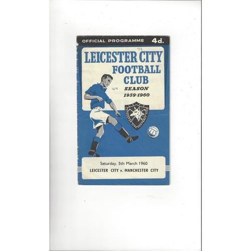 1959/60 Leicester City v Manchester City Football Programme