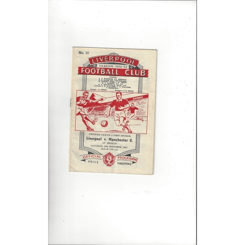 1951/52 Liverpool v Manchester United Football Programme
