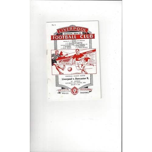 1954/55 Liverpool v Doncaster Rovers Football Programme