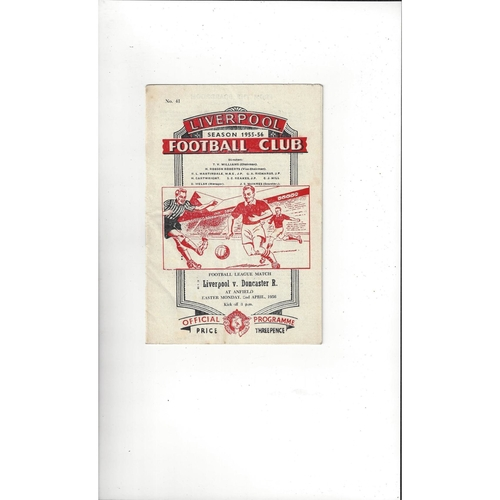 1955/56 Liverpool v Doncaster Rovers Football Programme