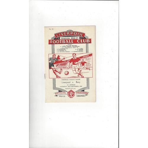 1956/57 Liverpool v Bury Football Programme