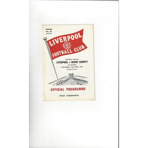 1958/59 Liverpool v Derby County Football Programme
