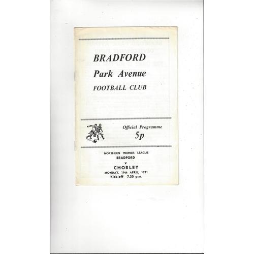 1970/71 Bradford Park Avenue v Chorley Football Programme