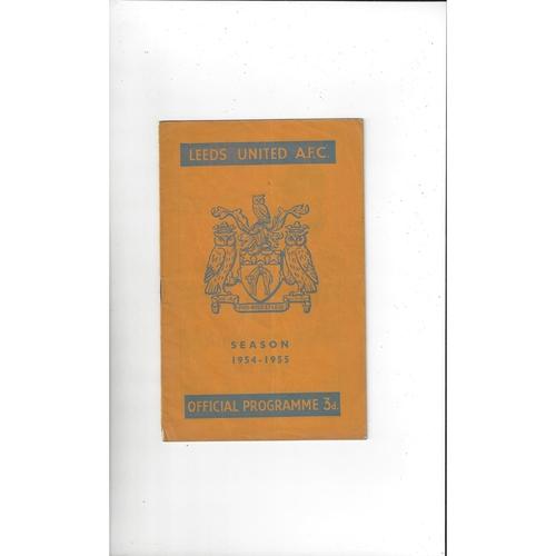 1954/55 Leeds United v Blackburn Rovers Football Programme