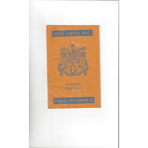 1956/57 Leeds United v Manchester United Football Programme