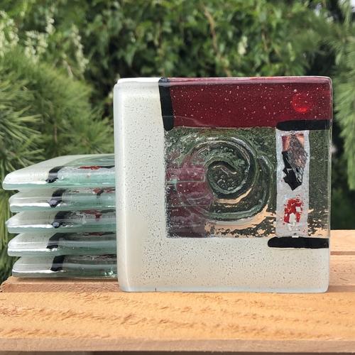 Artemis Red & White Coaster (Square)