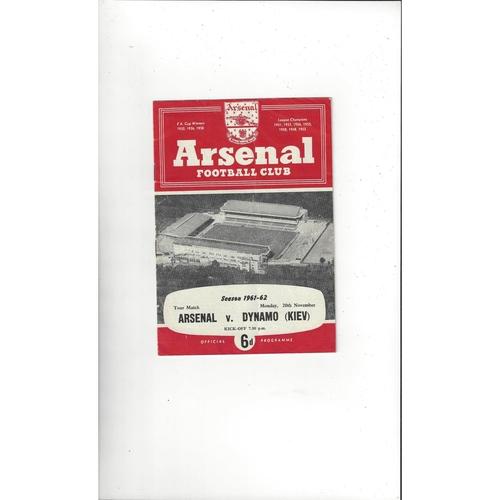 Arsenal v Dynamo Kiev Friendly Football Programme 1961/62