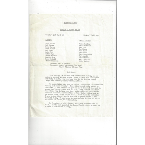 Barking v Canvey Island Friendly Football Programme 1969/70
