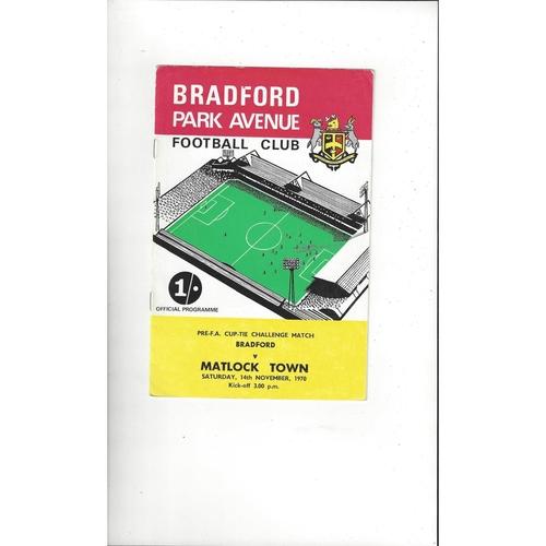 Bradford Park Avenue v Matlock Town FA Cup Football Programme 1970/71