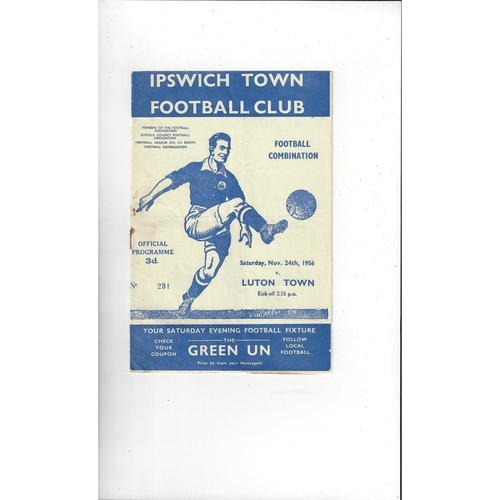 Ipswich Town v Luton Town Football Combination Football Programme 1956/57