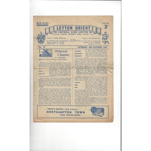 1955/56 Leyton Orient v Northampton Town Football Programme