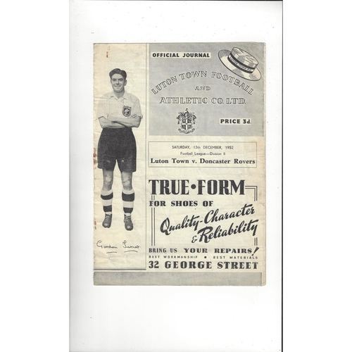 1952/53 Luton Town v Doncaster Rovers Football Programme