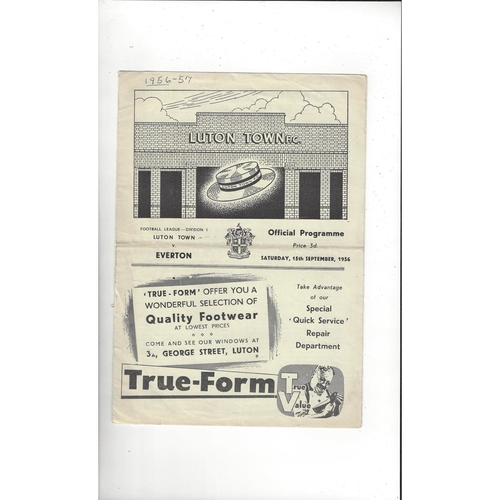 1956/57 Luton Town v Everton Football Programme