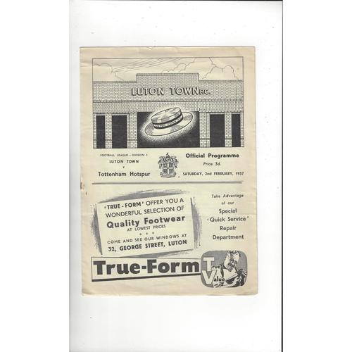 1956/57 Luton Town v Tottenham Hotspur Football Programme