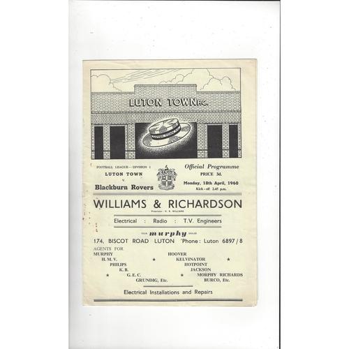 1959/60 Luton Town v Blackburn Rovers Football Programme