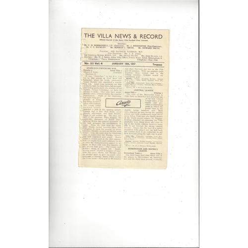 Aston Villa v Manchester City Central League Football Programme 1946/47
