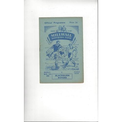 Millwall v Blackburn Rovers Friendly Football Programme 1954/55