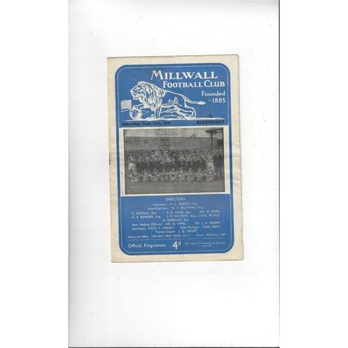 1957/58 Millwall v Aldershot Football Programme