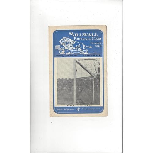 1957/58 Millwall v Charlton Athletic Friendly Football Programme