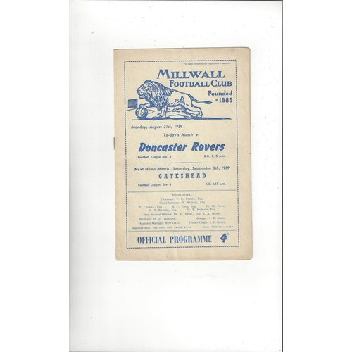 1959/60 Millwall v Doncaster Rovers Football Programme