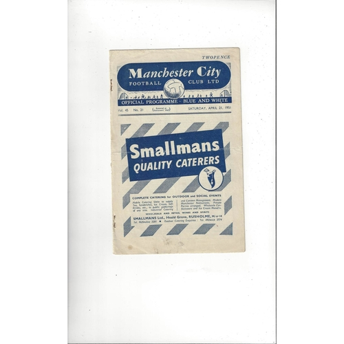 1950/51 Manchester City v Barnsley Football Programme