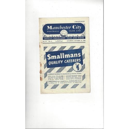 1950/51 Manchester City v Brentford Football Programme