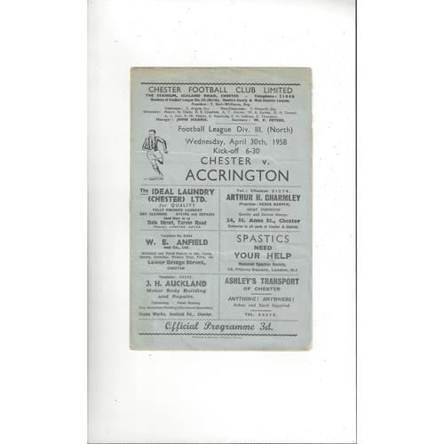 1957/58 Chester v Accrington Stanley Football Programme April