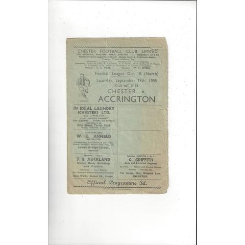 1955/56 Chester v Accrington Stanley Football Programme