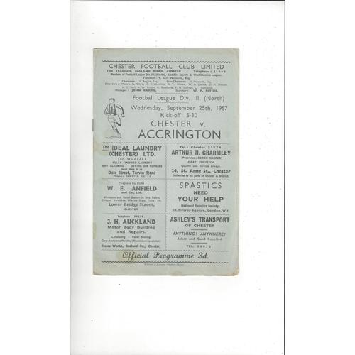 1957/58 Chester v Accrington Stanley Football Programme Sept
