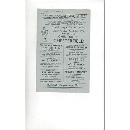 1957/58 Chester v Chesterfield Football Programme