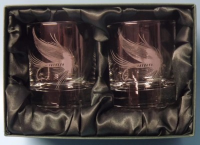 Engraved Whisky Glasses x 2