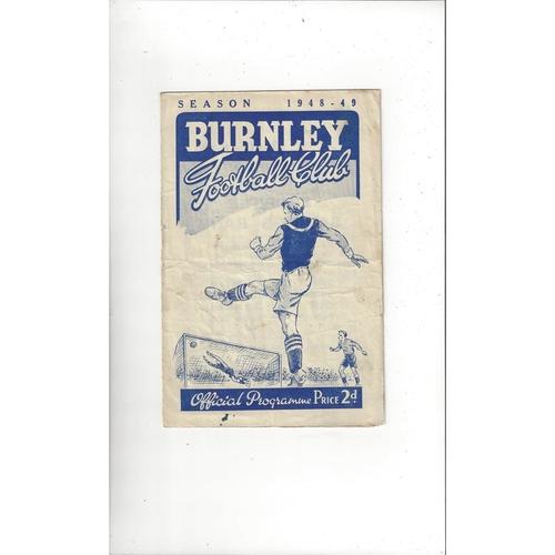 1948/49 Burnley v Manchester City Football Programme