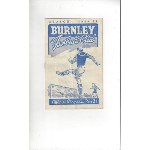1949/50 Burnley v Manchester City Football Programme