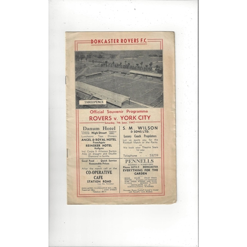 1946/47 Doncaster Rovers v York City Football Programme