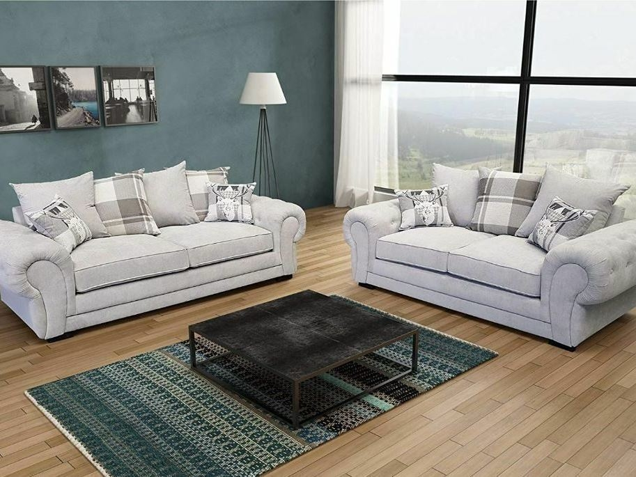 3+2 CHESTERFIELD SOFA IN SILVER KENSINGTON
