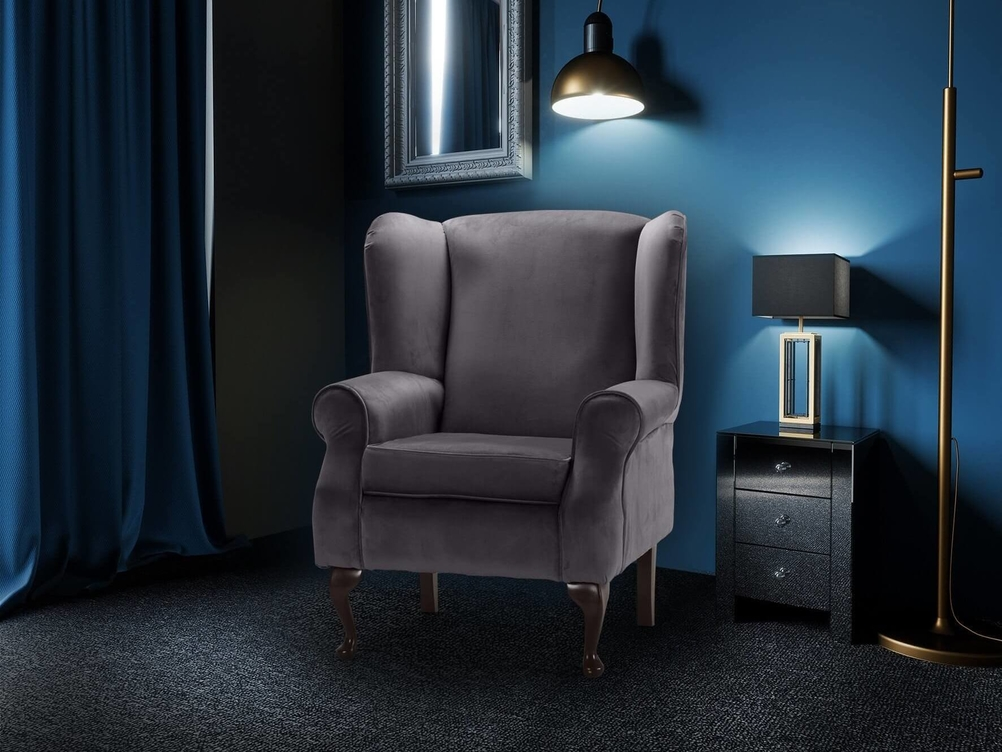 QUEEN ANNE WING BAVK CHAIR IN GREY PLUSH